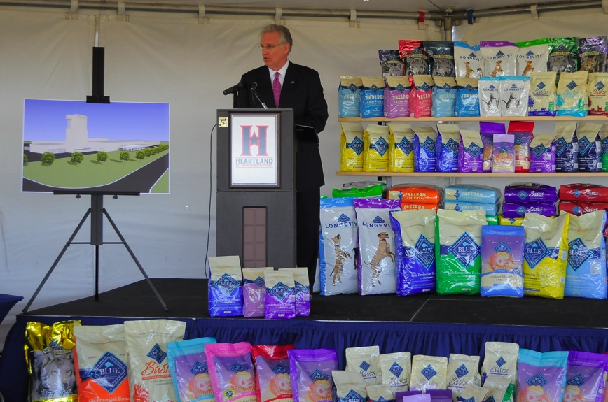 At the groundbreaking for the new Heartland Pet Products facility, Missouri Governor Jeremiah - Jay - Nixon.